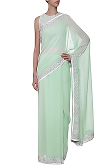Sea Foam Embroidered Saree with Blouse by TAIKA by Poonam Bhagat