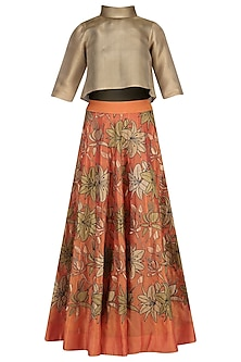 Orange Embroidered High-Waisted Skirt with Gold Crop Top by TAIKA by Poonam Bhagat