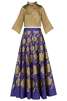 Purple Embroidered High-Waisted Skirt with Bronze Crop Top by TAIKA by Poonam Bhagat