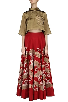 Red and Gold Appliqued High-Waisted Skirt with Bronze Crop Top by TAIKA by Poonam Bhagat
