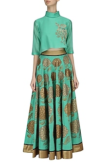 Aqua Embroidered High-Waisted Skirt with Aqua Crop Top by TAIKA by Poonam Bhagat