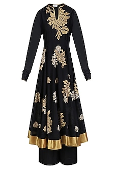 Black and Gold Floral Tissue Work Anarkali and Palazzos Set by TAIKA by Poonam Bhagat