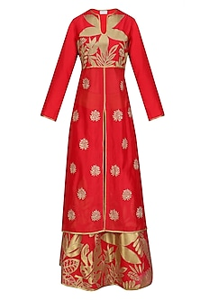 Red and Gold Floral Tissue Work Anarkali and Skirt Set by TAIKA by Poonam Bhagat