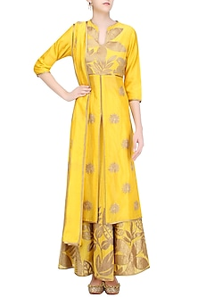 Yellow and Gold Floral Tissue Work Anarkali and Skirt Set by TAIKA by Poonam Bhagat