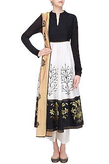Black and White Floral Tissue Work Anarkali and Palazzos Set by TAIKA by Poonam Bhagat