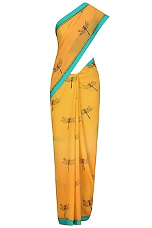Yellow Dragonflies Printed Saree with Black Blouse by TAIKA by Poonam Bhagat