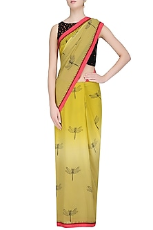 Olive Dragonflies Printed Saree with Black Blouse by TAIKA by Poonam Bhagat