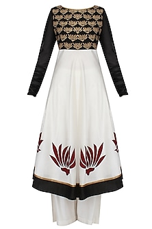 Ivory and Black Lotus Motifs Embroidered Kurta with White Palazzo Pants Set by TAIKA by Poonam Bhagat