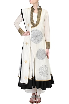 Ivory Thread Embroidered Angrakha Kurta with Ivory Wide Leg Pants Set by TAIKA by Poonam Bhagat