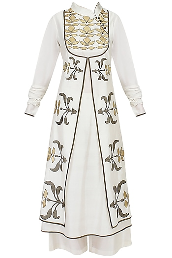 Ivory and Gold Tissue Applique A Line Angrakha Kurta with Palazzo Pants Set by TAIKA by Poonam Bhagat