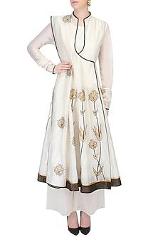 Ivory Floral Motifs Applique Kalidaar Angrakha Kurta with Ivory Palazzo Pants Set by TAIKA by Poonam Bhagat