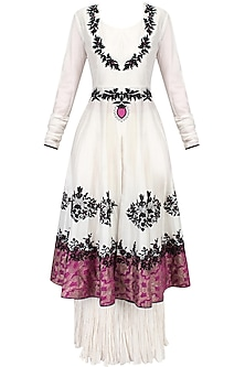 Ivory Floral Motifs Embroidered Kalidaar Anarkali with White Pleated Skirt Set by TAIKA by Poonam Bhagat