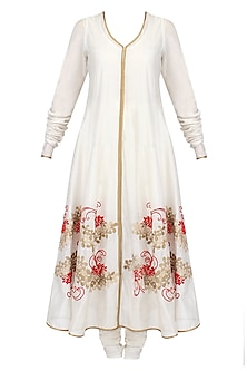 Ivory Floral Pattern Thread Embroidered Anarkali with Churidaar Pants Set by TAIKA by Poonam Bhagat