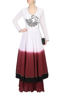 White Voile Dip Dyed Panelled Angrakha Kurta and Burgundy Crinkled Skirt Set by TAIKA by Poonam Bhagat