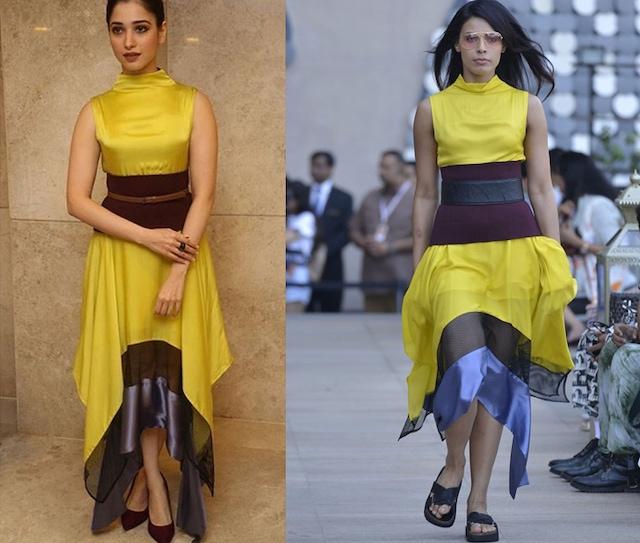 Lemon yellow, blue and black high rise handkerchief dress by Dhruv Kapoor