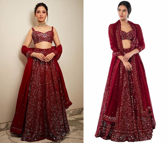 Maroon Embroidered Lehenga Set by Tamanna Punjabi Kapoor