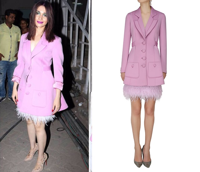 Lavender Button Down Trench Coat with Ostrich Feather Skirt by Dolly J