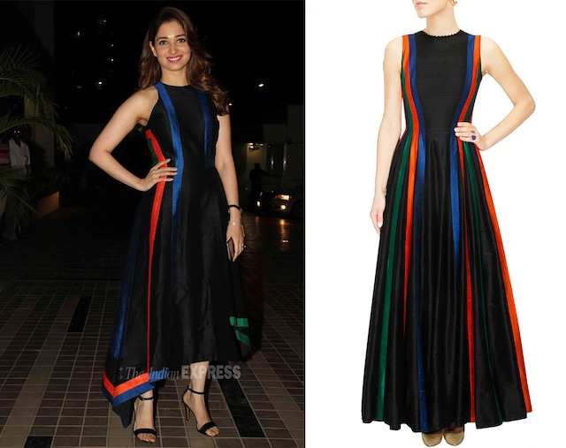 Black fit and flare multicolour panelled gown by Urvashi Joneja