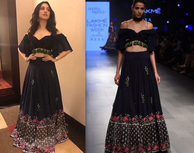 Midnight Blue Gold Embroidered Lehenga and Blouse Set by Arpita Mehta