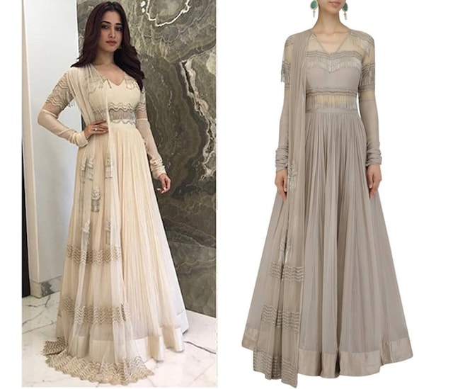 Champagne Gold Tasseled Anarakali with Attached Dupatta by Ridhi Mehra