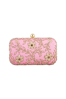 Light Pink Embroidered Clutch by Tarini Nirula