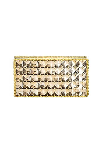 Gold Embroidered Crystal Clutch by Tarini Nirula