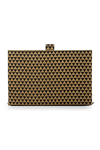 Black & Gold Handcrafted Brocade Notebook Cutch by Tarini Nirula