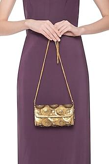 Gold embroidered clutch by Tarini Nirula