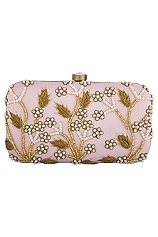 Pink embroidered clutch by Tarini Nirula