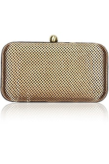 Splendour copper checkered clutch by Tarini Nirula