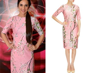 Pink floral and cherry blossom printed dress by Nishka Lulla