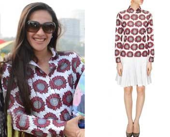White Sunflower Shirt Dress by Surendri by Yogesh Chaudhary