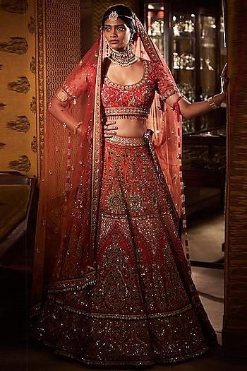 Red Embroidered Ombre Bridal Lehenga Set by Tarun Tahiliani