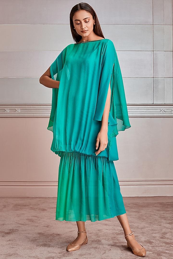 Green Chiffon Kaftan Set by Tarun Tahiliani