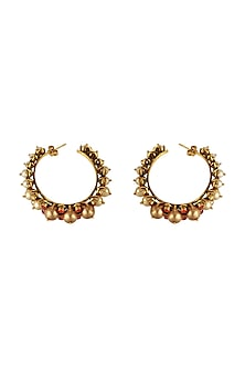 Gold Finish Pearl Hoop Earrings With Swarovski Crystals by Tarun Tahiliani X Confluence
