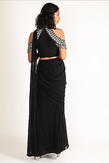 Black Embroidered Draped Saree Set by Tarun Tahiliani