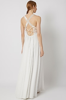 White Floral Embroidered Cross Back Gown by Tamaraa By Tahani