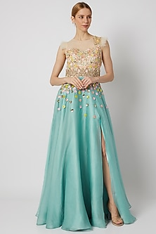 Sky Blue Handcrafted & Embroidered Slit Gown by Tamaraa By Tahani