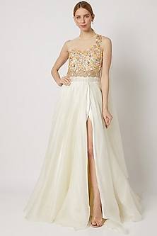 White Embroidered Slit Gown With Drape by Tamaraa By Tahani