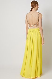 Lime Yellow Embroidered Drape Gown by Tamaraa By Tahani