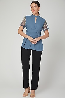 Blue Embellished Shirt With Wrap Belt by Tamaraa By Tahani