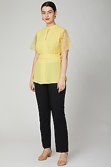 Yellow Embellished Shirt With Wrap Belt by Tamaraa By Tahani