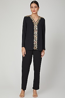 Black Sequins Embroidered Top by Tamaraa By Tahani