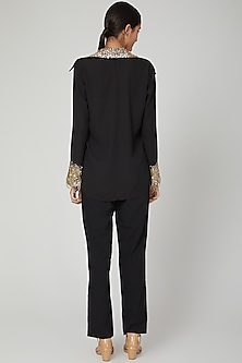 Black Sequins Embroidered Shirt by Tamaraa By Tahani