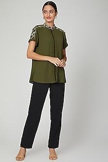 Olive Green Aari Embroidered Shirt by Tamaraa By Tahani
