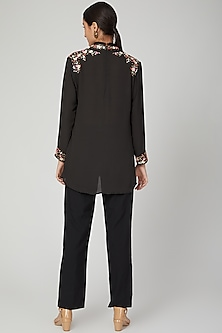 Black Aari Work Embroidered Top by Tamaraa By Tahani