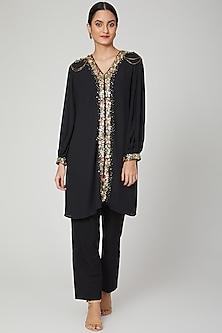 Black Aari Embroidered Tunic Dress by Tamaraa By Tahani