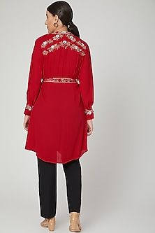 Red Aari Work Embroidered Tunic Dress by Tamaraa By Tahani