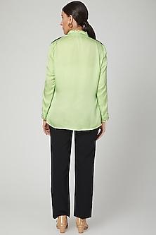 Mint Green Aari Embroidered Shirt by Tamaraa By Tahani