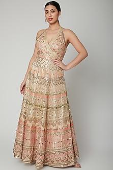 Beige Aari Work Embroidered Gown by Tamaraa By Tahani
